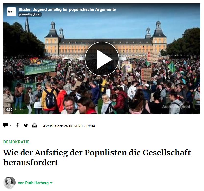 Wie der Aufstieg der Populisten die Gesellschaft herausfordert