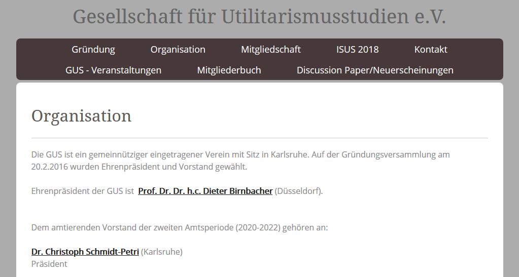 Neuer Vorstand für die Gesellschaft für Utilitarismus-Studien